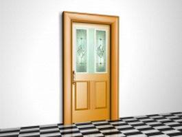 Front door with glass 3d model