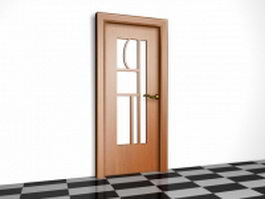 Glazed wood door 3d model