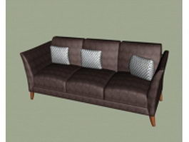 Dark brown fabric sofa 3d model
