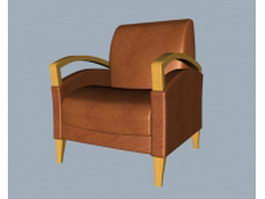Leather club chair 3d model