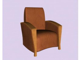 Tan leather sofa chair 3d preview