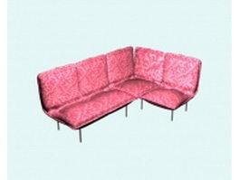 Floral fabric corner sofa 3d model