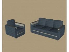 Blue fabric sofa sets 3d model