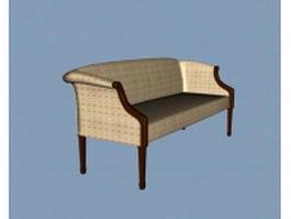 Vintage fabric settee 3d model