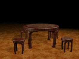 Antique dining sets 3d model