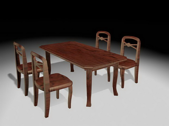 Rustic Dining Room Sets 3d Model 3ds Max Files Free Download