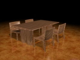 Rustic wood dining set 3d model