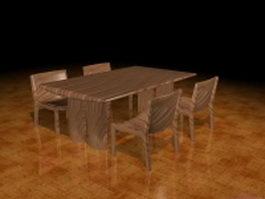 Rustic wood dining set 3d model
