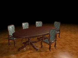 Oval dining table sets 3d model