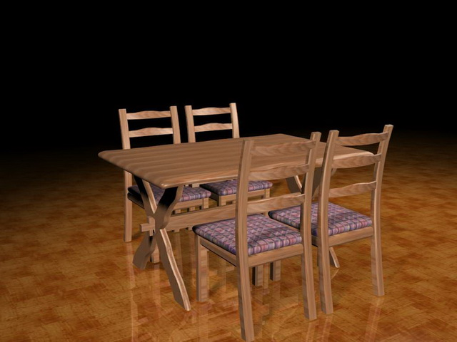 Casual dining room sets 3d model 3ds max files free for Dining room 3d max model