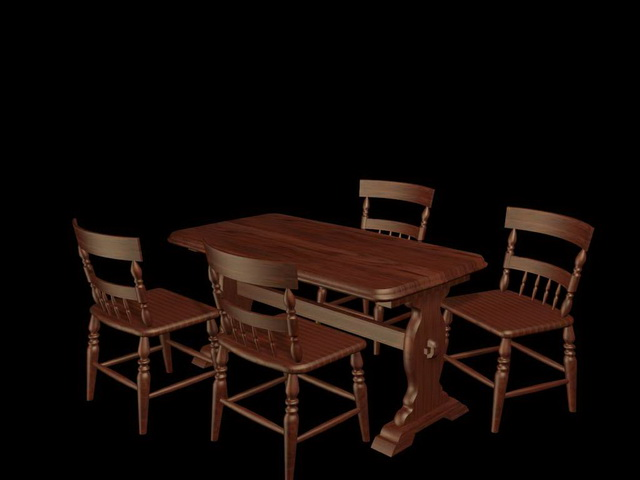 Retro Wood Dinette Sets 3d Model 3ds Max Files Free Download