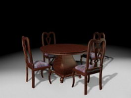 Antique furniture dining room sets 3d model