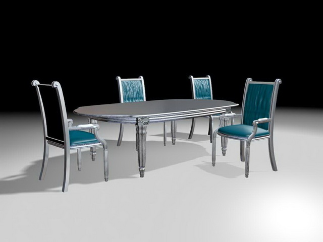 5 Piece Retro Silver U0026 Blue Dining Set, Race Track Shaped Table, Retro  Dining Chair With Arms. Available 3D Object Format: .MAX (3ds Max) Scanline  Render