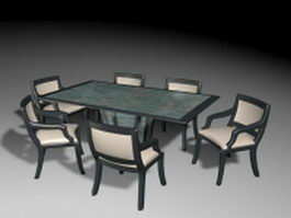 7 Piece patio dining set 3d model