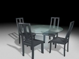 Glass dining sets 4 chairs 3d model