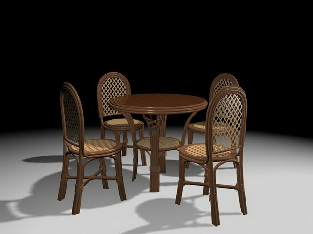 Wicker Dining Room Sets 3d Model 3ds Max Files Free Download