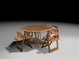 Folding dining table set 3d model
