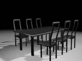 Black wood dining room sets 3d model