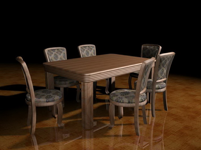 7 piece dining room set 3d model 3ds max files free for Dining room table 3ds max