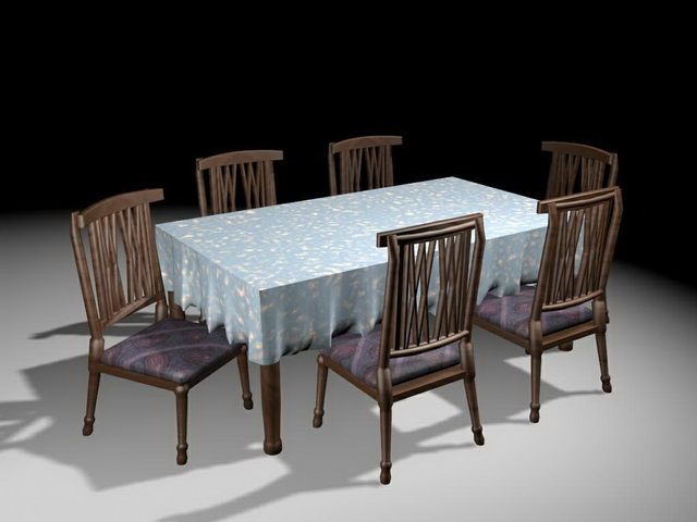 Classic dining room furniture 3d model 3ds max files free for Dining room 3d model