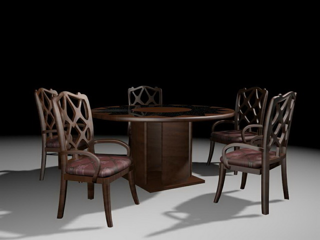 Round dining room sets 3d model 3ds max files free for Dining room table 3ds max