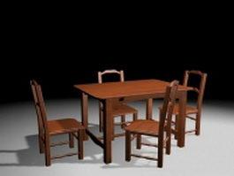 Modern wood dining room sets 3d model