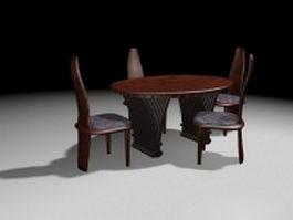 Round wood dinette sets 3d model