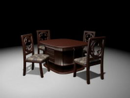 Retro wood dining set 3d model