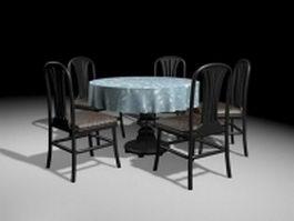 Black wood round dining sets 3d model
