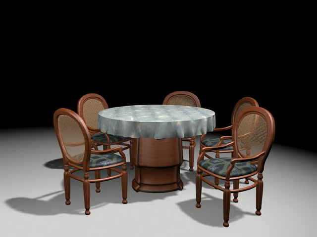 Round Dining Set 3d Model 3ds Max Files Free Download
