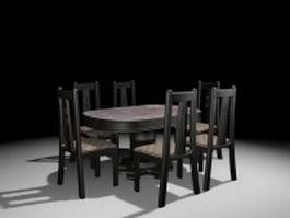 Elegant black dining room set 3d model