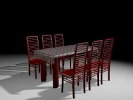 Red dining room sets 3d model