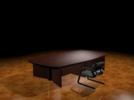 Conference room table and chair 3d model