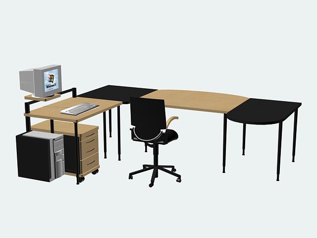 Office Desk Furniture Sets 3d Model 3d Studio 3ds Max