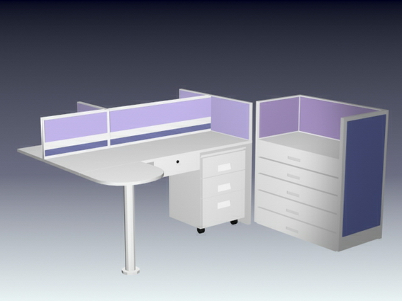 Office Cubicle Workstation 3d Model 3d Studio 3ds Max
