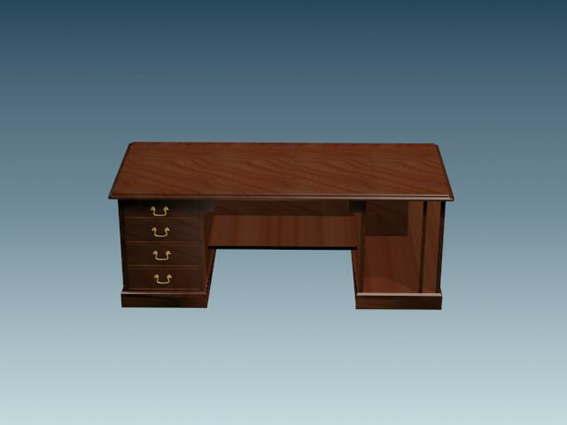 Classic Office Desk 3d Model 3d Studio 3ds Max Files Free
