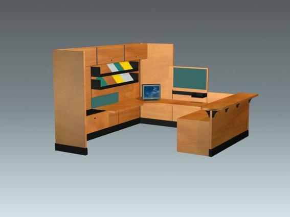 Wood Office Cubicle 3d Model 3d Studio 3ds Max Files Free