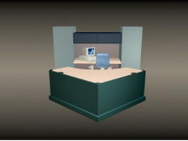 Office front desk furniture 3d model