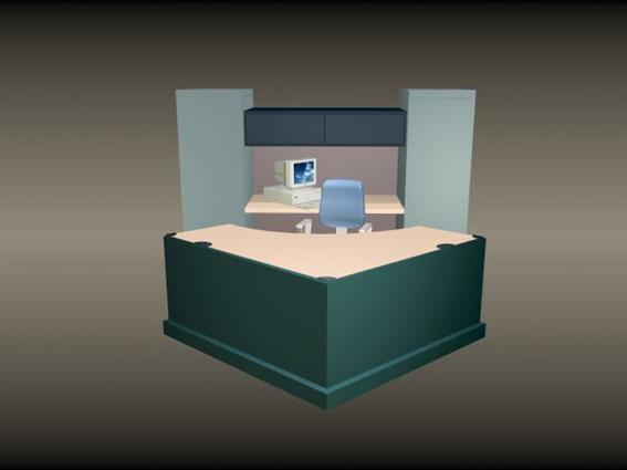 Office Front Desk Furniture 3d Model 3d Studio 3ds Max