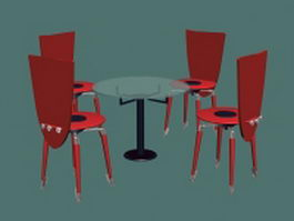 Round conference table and chairs sets 3d model