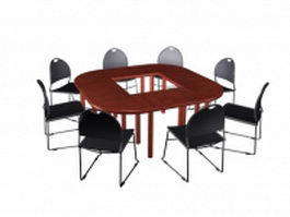 Small conference table and chairs 3d model