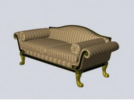 Antique Victorian loveseat 3d model