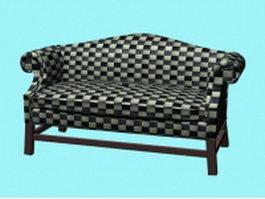 Plaid fabric settee 3d model
