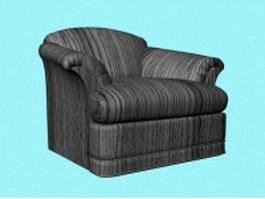 Dark striped sofa chair 3d model