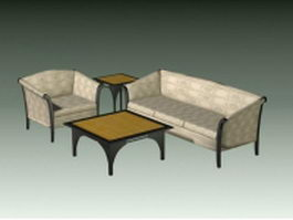 4 Piece living room set 3d model