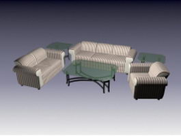 6 Piece living room set 3d model