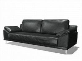 Black leather loveseat 3d model