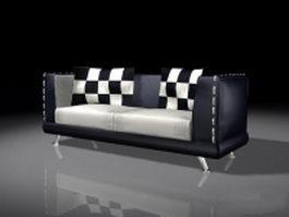 Modern black leather loveseat 3d model