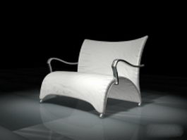 Arched white leather chair 3d model
