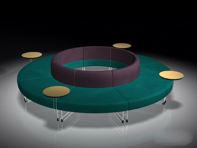 Ordinary Round Bench Seating Part - 7: Round Bench Seating 3D Model